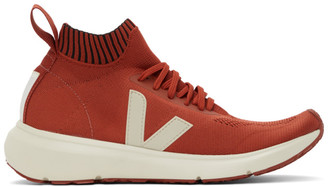 Rick Owens Orange and Off-White Veja Edition Sock Runner Sneakers