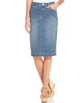 Style&Co. Style & Co Style & Co Petite Tummy-Control Sea Glass Wash Denim Skirt, Created for Macy's