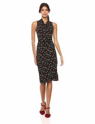 Lark & Ro Women's Sleeveless Crossover Twist Neck Faux Wrap Dress