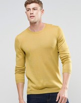 Asos Merino Wool Crew Neck Jumper In Yellow Twist