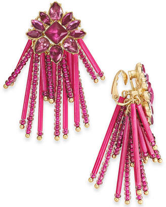 INC International Concepts Inc Gold-Tone Stone & Bead Clip-On Chandelier Earrings