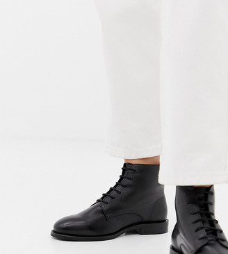 Park Lane Wide Fit Leather Flat Ankle Boots-Black