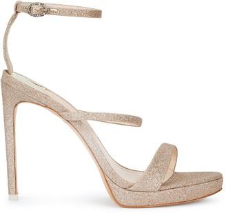 Sophia Webster Rosalind 100 gold glittered leather sandals