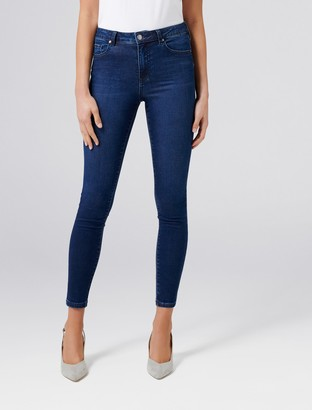Forever New Lily Petite High Rise Ankle Grazer Jeans - Rodeo Blue - 4