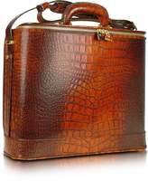 Pratesi Croco Stamped Leather Laptop Business Bag w/Courtesy Light