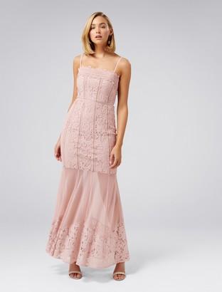 Forever New Abigail Lace Fishtail Dress - Blush - 4