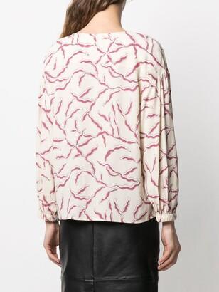 BA&SH Clea print V-neck top