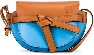 Loewe Gate Colour Block Bag in Tan & Sky Blue | FWRD