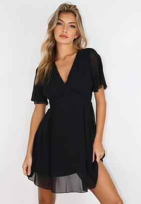 Missguided Black V Neck Flutter Sleeve Skater Dress