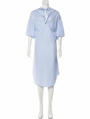 Tome Striped Midi Length Dress Blue