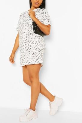 boohoo Plus Polka Dot TShirt Dress