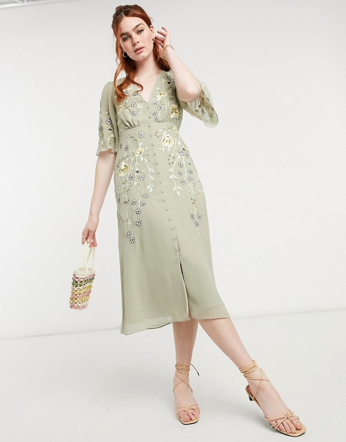 Thumbnail for your product : Hope & Ivy embroidered floral plunge midi tea dress in sage green