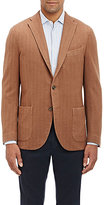 Boglioli MEN'S HERRINGBONE THREE-BUTTON SPORTCOAT-TAN SIZE 42