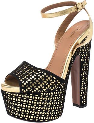 Alaia Black Laser Cut Suede And Gold Leather Peep-Toe Platform Sandals Size 38