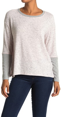 Michael Stars Long Sleeve Colorblock Heathered Pullover Top