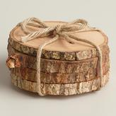 Cost Plus World Market Wood Bark Coasters, Set of 4