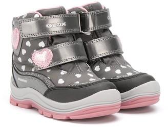 Geox Kids Heart-Pattern Touch Strap Sneakers