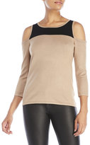 Cable & Gauge Color Block Cold Shoulder Sweater