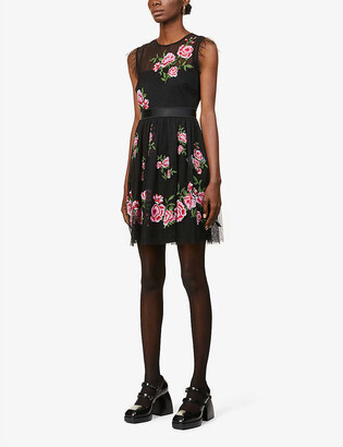 RED Valentino Rose-embroidered tulle mini dress