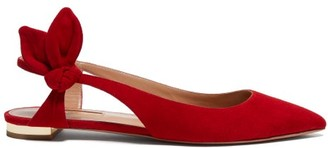 Aquazzura Drew Bow-embellished Suede Flats - Red