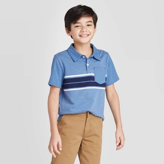 Cat & Jack Boys' Short Sleeve Striped Knit Polo Shirt - Cat & JackTM Navy/White