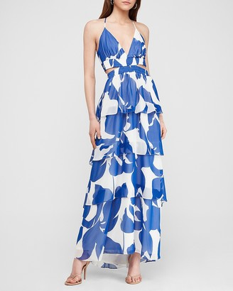 Express Floral Tiered Twist Back Maxi Dress