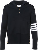 Thom Browne Pullover Hoodie With Rib Stitch In Navy Merino