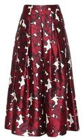 Oscar de la Renta Printed Silk Midi Skirt