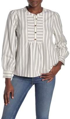 Madewell Stripe Button Bib Blouse