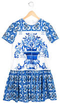 Dolce & Gabbana Girls' Majolica Tile Print Drop Waist Dress