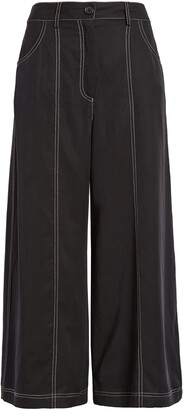 Socialite Contrast Stitch High Waist Crop Wide Leg Pants