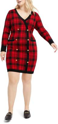 ELOQUII Plaid Long Sleeve Sweater Dress