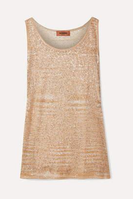Missoni Sequined Crochet-knit Tank - Beige