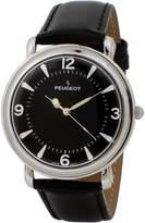 Peugeot Men's 'Slim Case Dome' Quartz Metal and Leather Dress Watch, Color:Black (Model: 2060BK)
