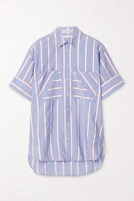 Palmer Harding palmer//harding - Oversized Grosgrain-trimmed Lyocell-blend Voile Shirt - Light blue