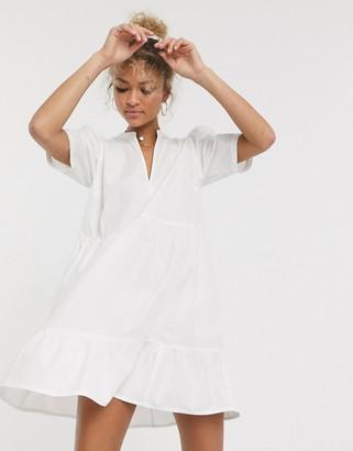 ASOS DESIGN cotton tiered mini smock dress in white
