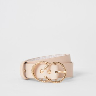 River Island Girls Pink RI printed double buckle belt
