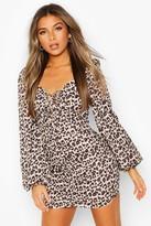 boohoo Petite Leopard Volume Sleeve Ruched Mini Dress