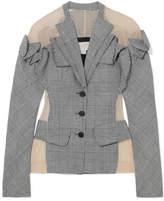 Antonio Berardi Tulle-paneled Checked Wool, Linen And Silk-blend Blazer