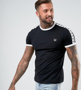Fred Perry Sports Authentic Slim Fit Taped Sleeve T-Shirt In Black