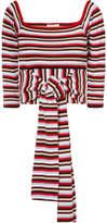 Isa Arfen Striped Cotton-jersey Wrap Top