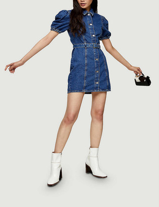 Topshop Puffed sleeve denim mini dress