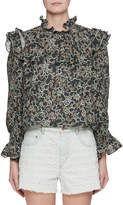 Etoile Isabel Marant Ted Ochre Embroidered Long-Sleeve Linen Blouse