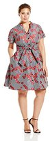 Adrianna Papell Women's Plus-Size Gingham and Floral Flared Embroidered Shirtdress