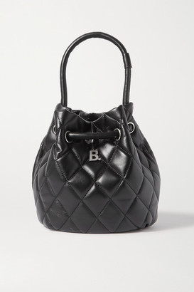 Balenciaga B Dot Quilted Leather Bucket Bag - Black