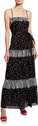 Kate Spade Daisy Dot Mixed Print Sleeveless A-Line Maxi Dress