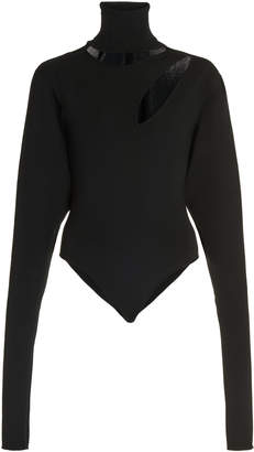 Boyarovskaya Cutout-Detailed Ribbed Turtleneck Bodysuit