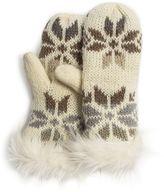 Muk Luks Women's Faux-Fur Snowflake Mittens