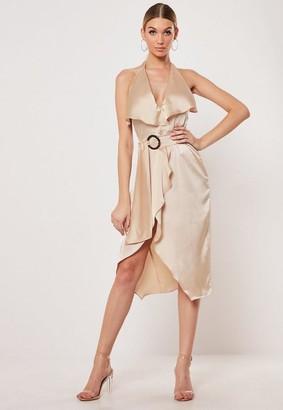 Missguided Gold Satin Halterneck Frill Front Midi Dress