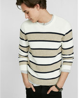 Express soft ivory marl stripe crew neck sweater